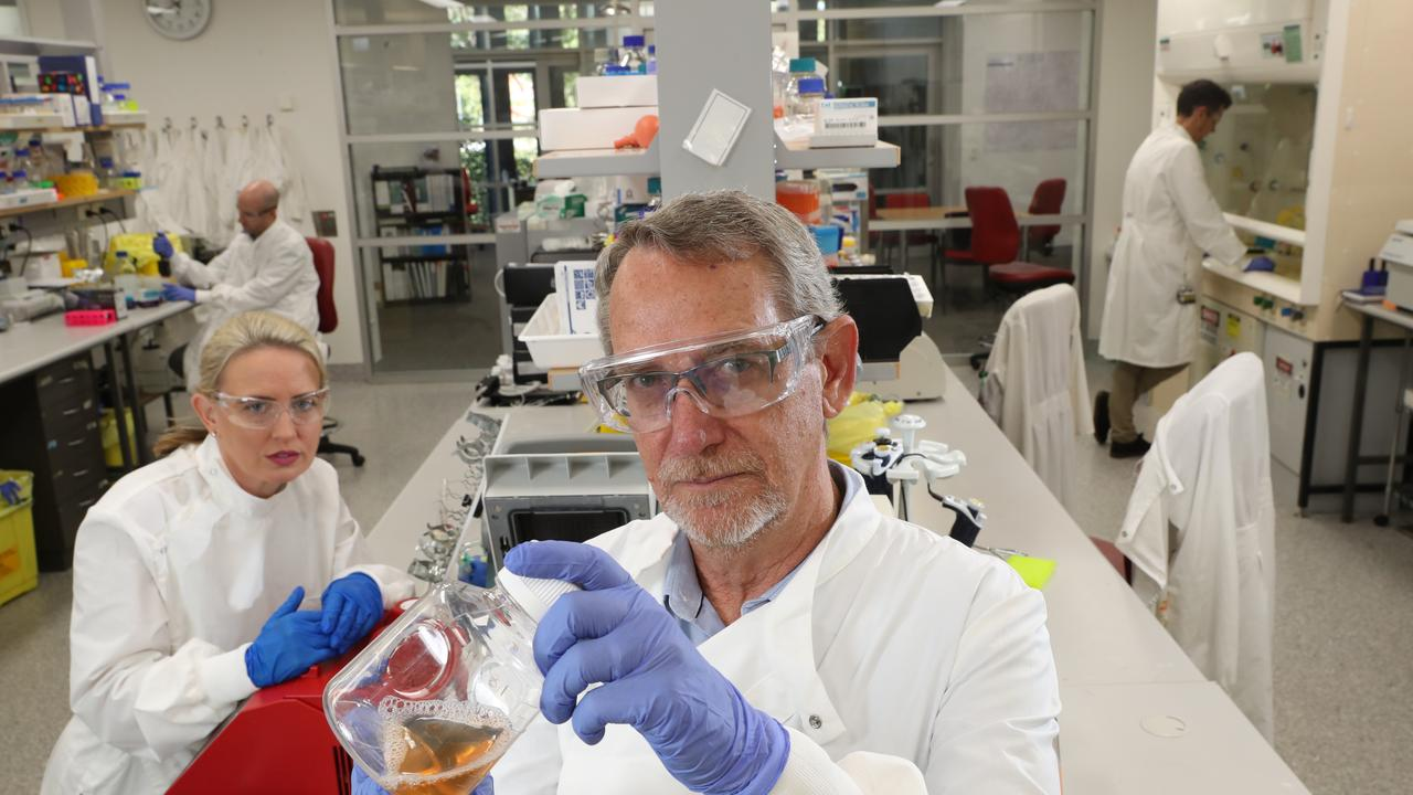 Minister Kate Jones, Dr Dan Watterson, Professor of Virology Paul Young, and Dr Keith Chappell, in the Molecular Virology Lab, where they are working on a rapid response vaccine pipeline. Picture: Liam Kidston