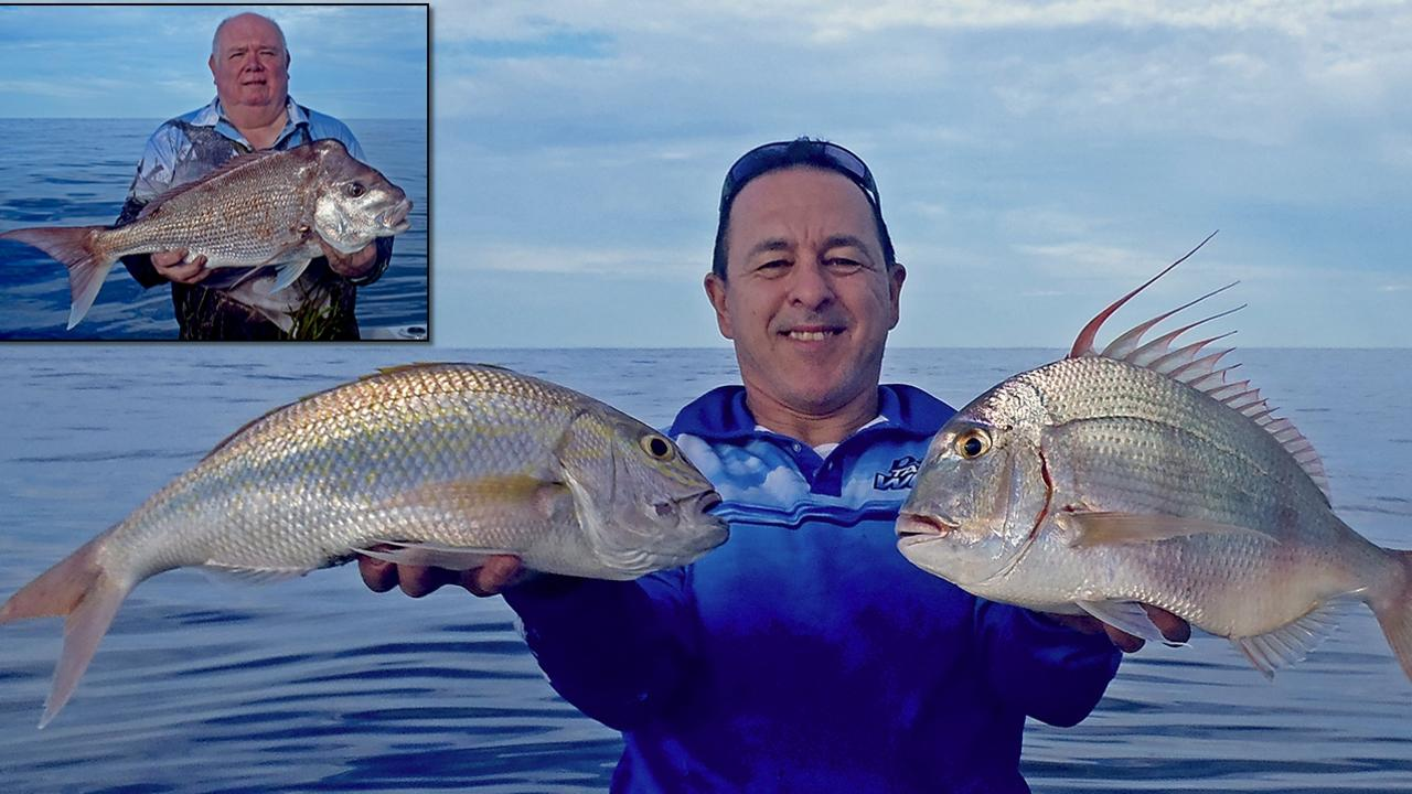 GOTCHA - Chicko Vella from Davo's Tackle World and his mate Donnie are pictured with snapper, gold band snapper and frypan snapper, boated on a recent trip to Double Island Point. Photo: www.fishingnoosa.com.au