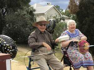 Birthday drive-by makes centenarian's day