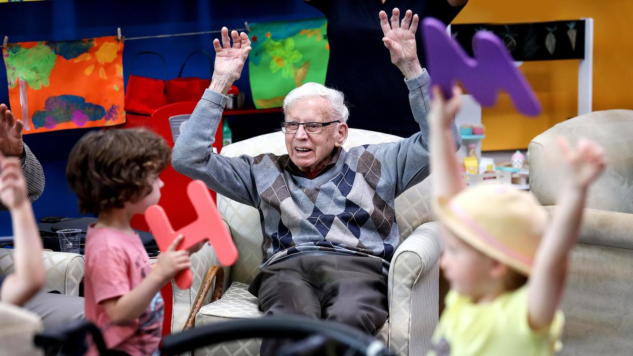 Stuart, Jax, left, and Michaela, right, in a scene from the TV series Old People's Home for 4 Year Olds. Supplied by ABC-TV.