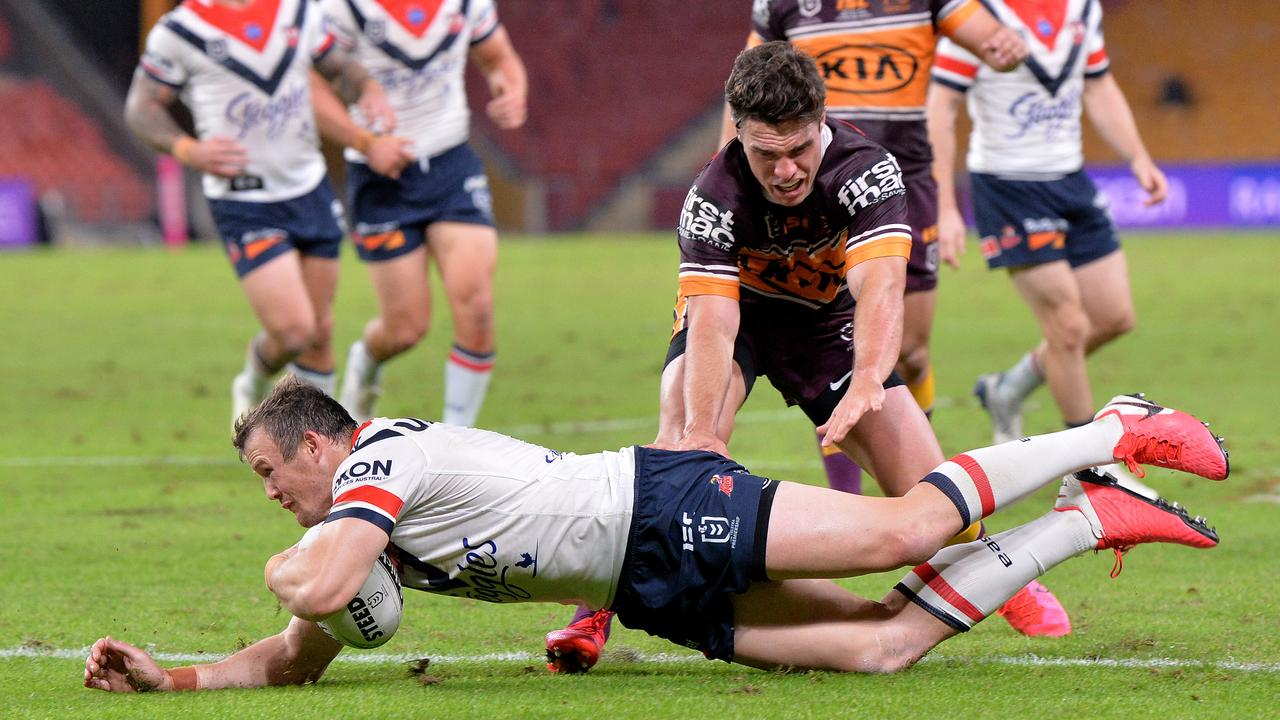 TRY TIME: The Morris brothers terrorised the Broncos defence in their 59–0 win. (Picture: Getty Images)