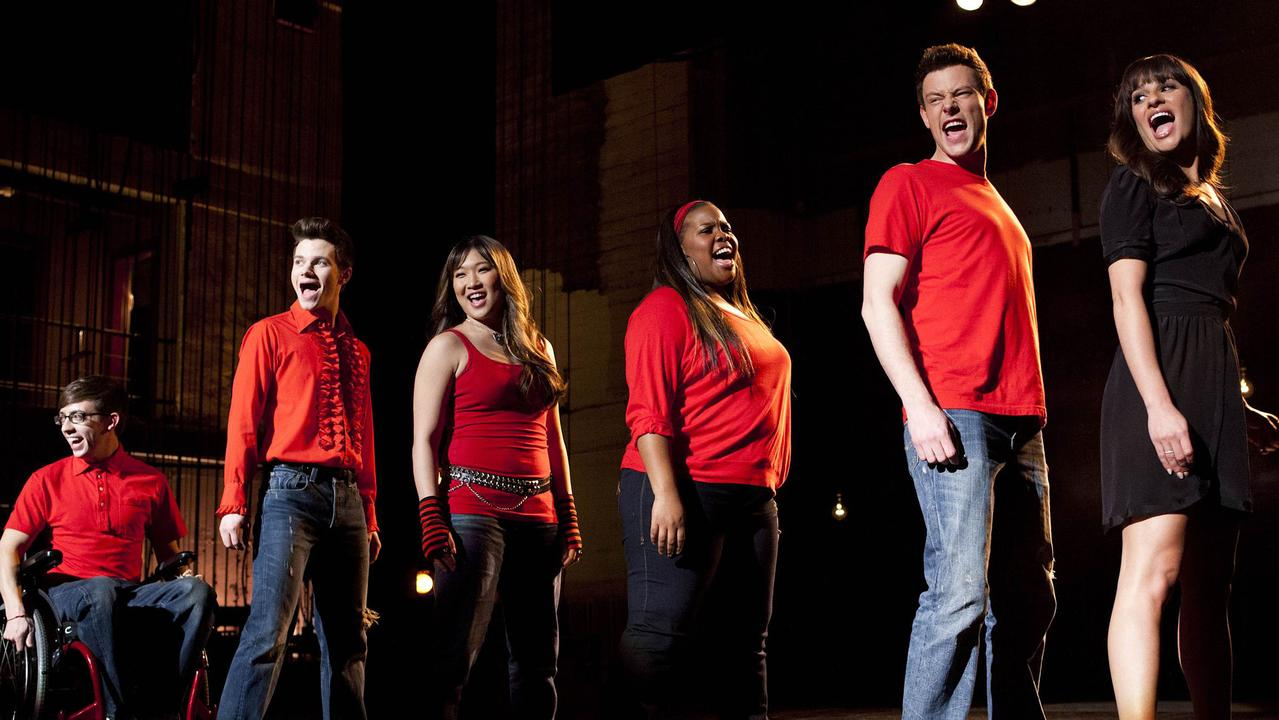 The cast of Glee, including Lea Michele (far right). Picture: AP Photo/Fox, Adam Rose