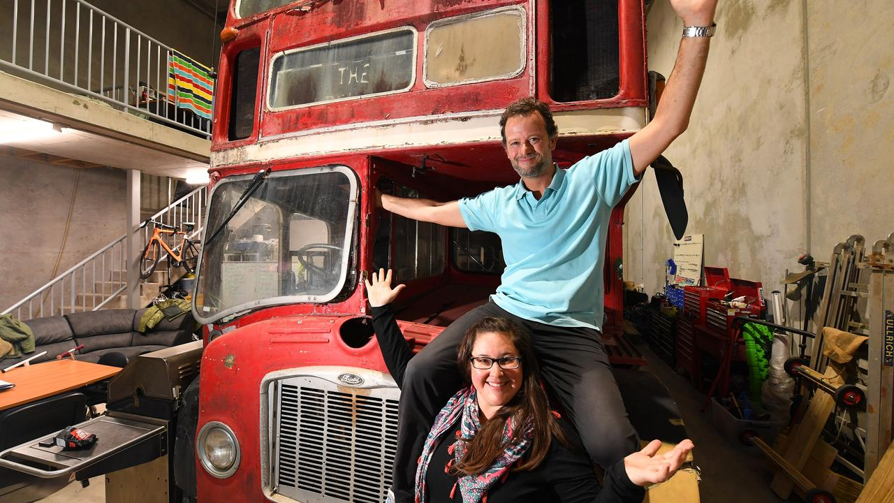 Damien and Rebecca McDonald have recently purchased an old English double decker bus that they want to transform into a home for their family of 5 and travel the country. Picture: WARREN LYNAM