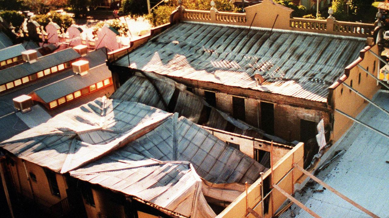 The collapsed roof of the building.