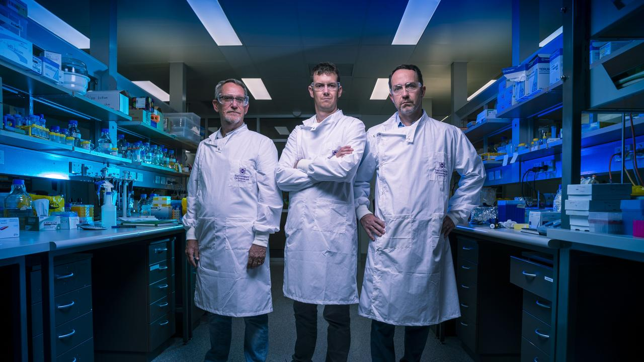 Inventors of molecular clamp vaccine for coronavirus: Professor Paul Young, Dr Keith Chappell and Professor Trent Munro in a lab at The University of Queensland. Picture: Glenn Hunt / The Australian