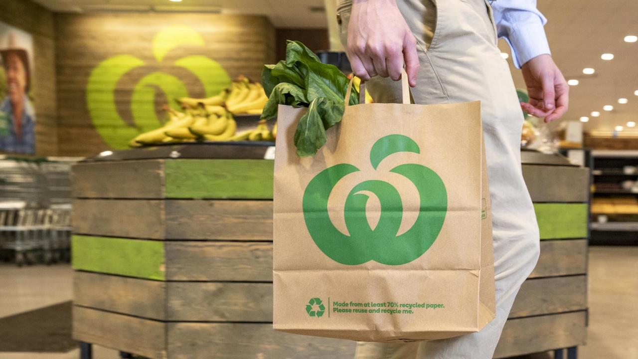 Woolies has launched new bags made of 70 per cent recycled paper.