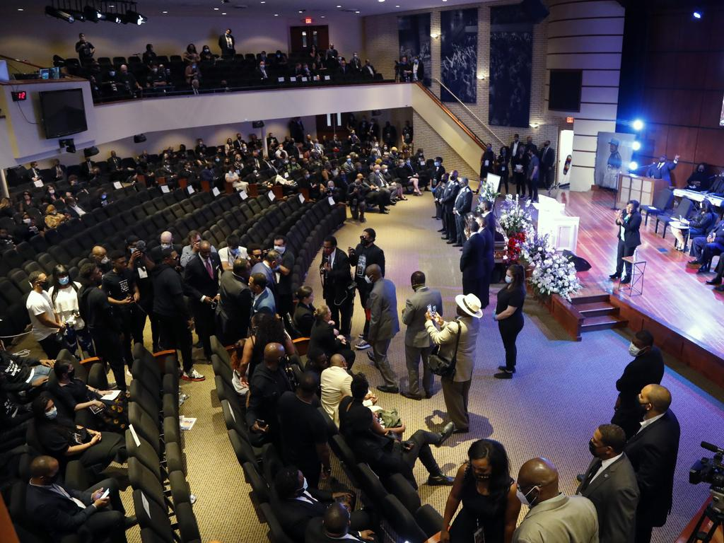 People fill Frank J. Lindquist Sanctuary at North Central University Thursday, June 4, 2020, before a memorial service for George Floyd in Minneapolis. Picture: AP Photo/Julio Cortez
