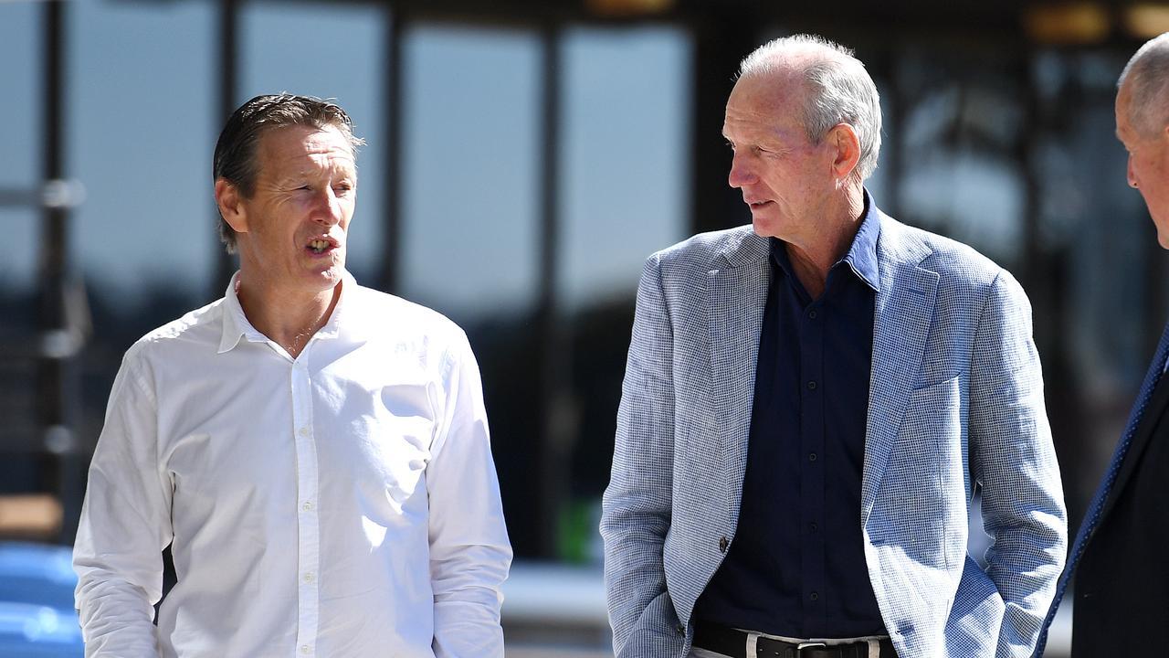 The Super Coaches: Melbourne's Craig Bellamy (L) and South Sydney's Wayne Bennett (R). Picture: AAP