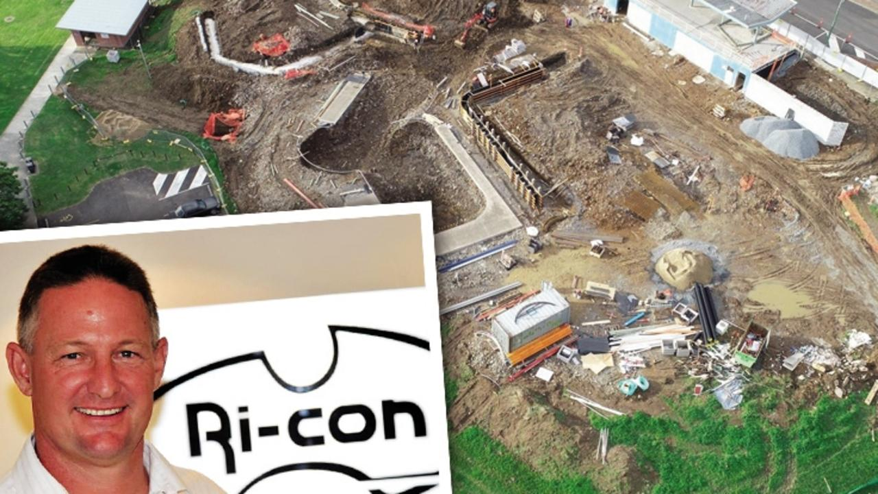 Ri-Con director John Jenkins, and the Gympie Youth Hub under construction. Ri-con went into liquidation on Monday.