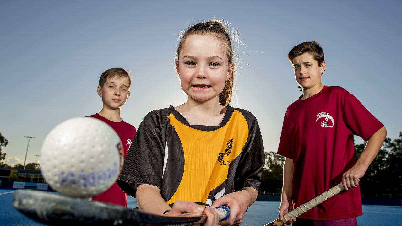 Mitchell Keeble, 11, Lucy Proctor, 9, and Hudson Keeble, 13.. Picture: Jerad Williams