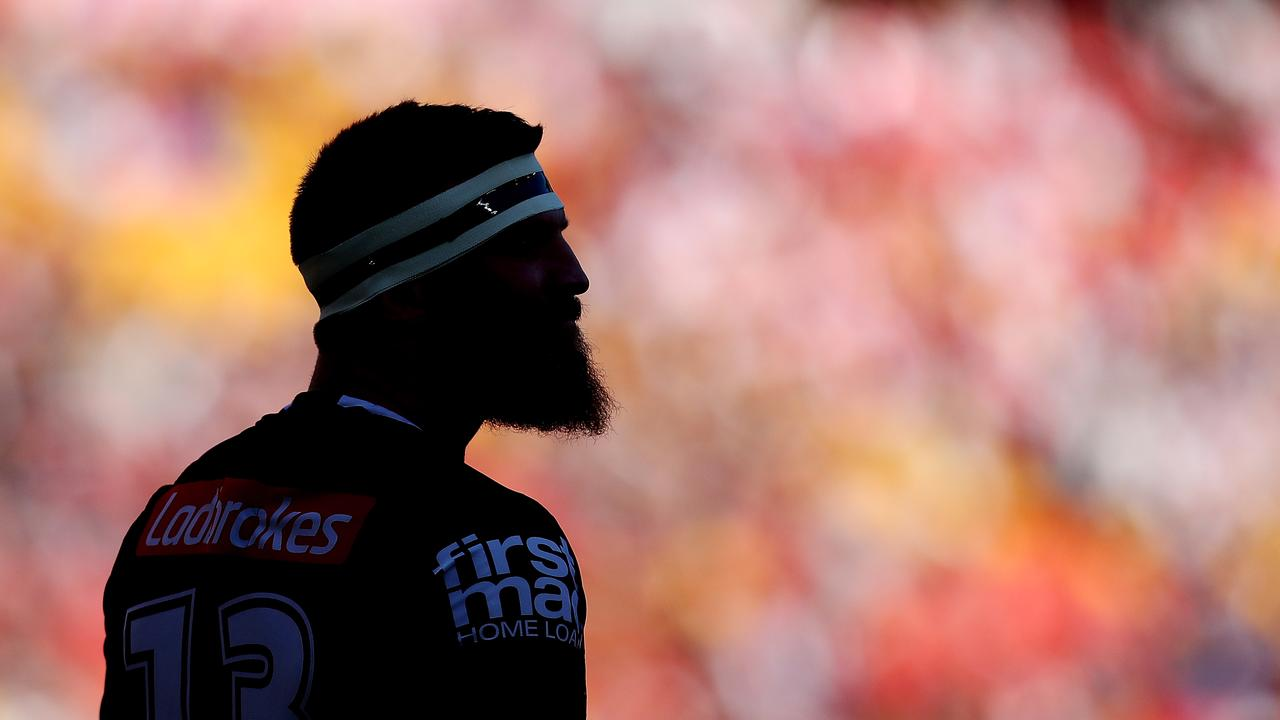 BRISBANE, AUSTRALIA - SEPTEMBER 09: Josh McGuire of the Broncos warms up before the NRL Elimination Final match between the Brisbane Broncos and the St George Illawarra Dragons at Suncorp Stadium on September 9, 2018 in Brisbane, Australia. (Photo by Chris Hyde/Getty Images)