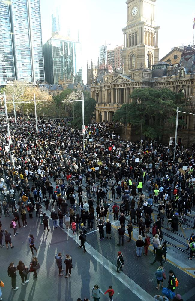 Protestors and police pictured at Sydney Town Hall. Picture: Matrix