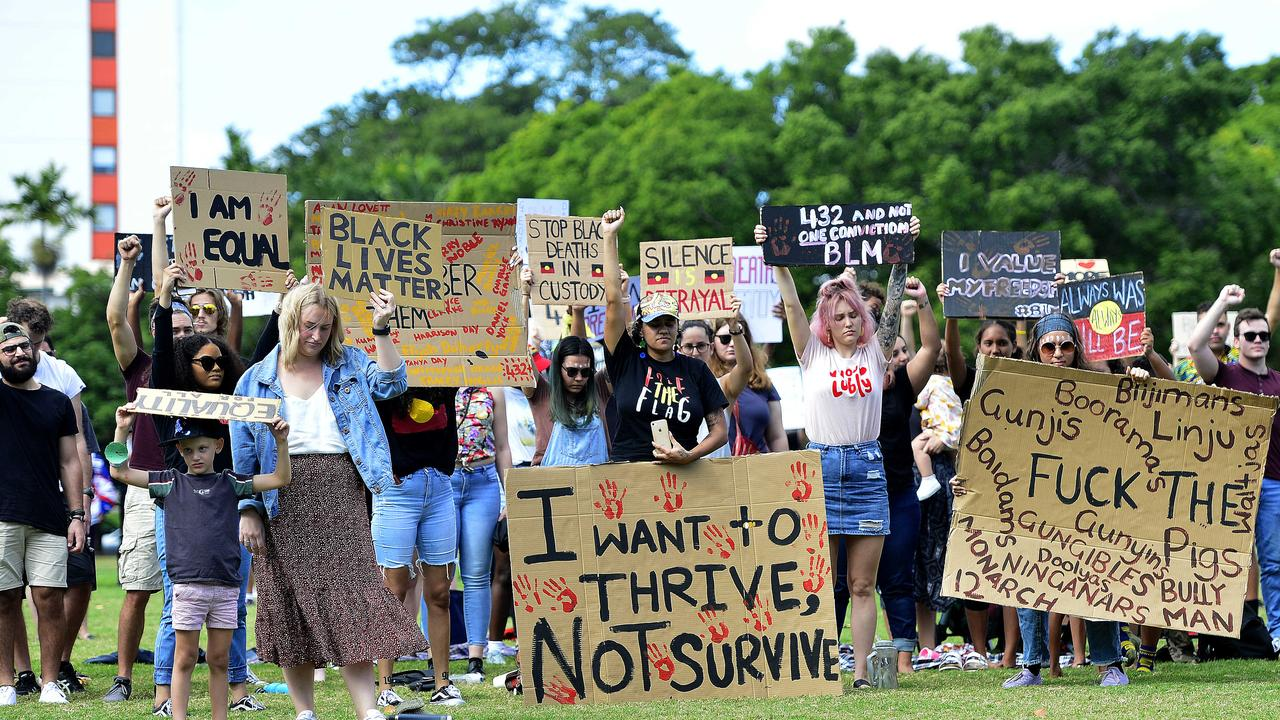 Townsville hosted a Black Lives Matter rally at Strand Park, despite Covid-19 regulations advising against large gatherings. Hundreds showed up for the moving, peaceful protest. PICTURE: MATT TAYLOR.