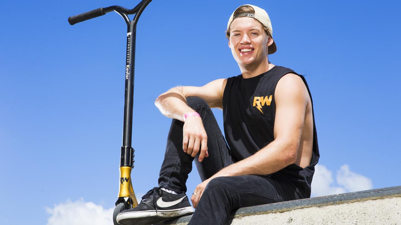 Ryan Williams aka RWilly who is touring with Nitro Circus at his local skate park at Caloundra. Photo Lachie Millard