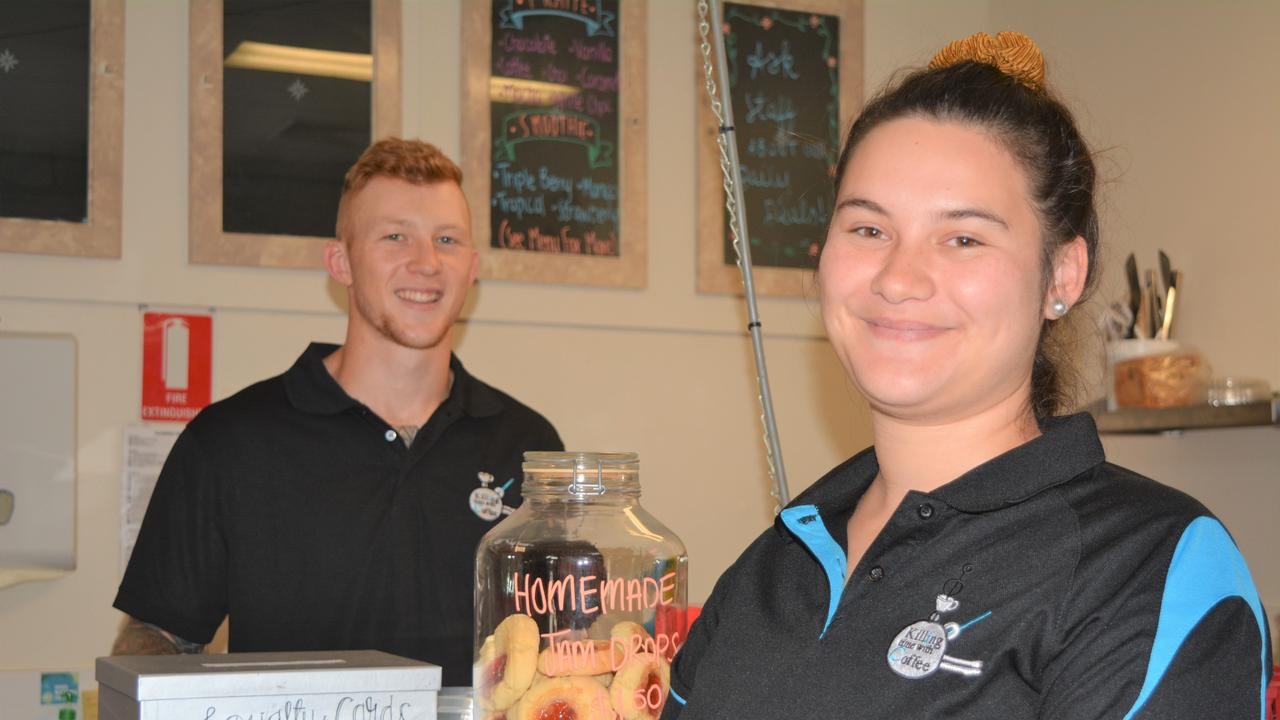 THRIVING: Jack Marlow and Molly Wilkinson say their new business Killing Time with Coffee is attracting heaps of local support. Photo: Ebony Graveur