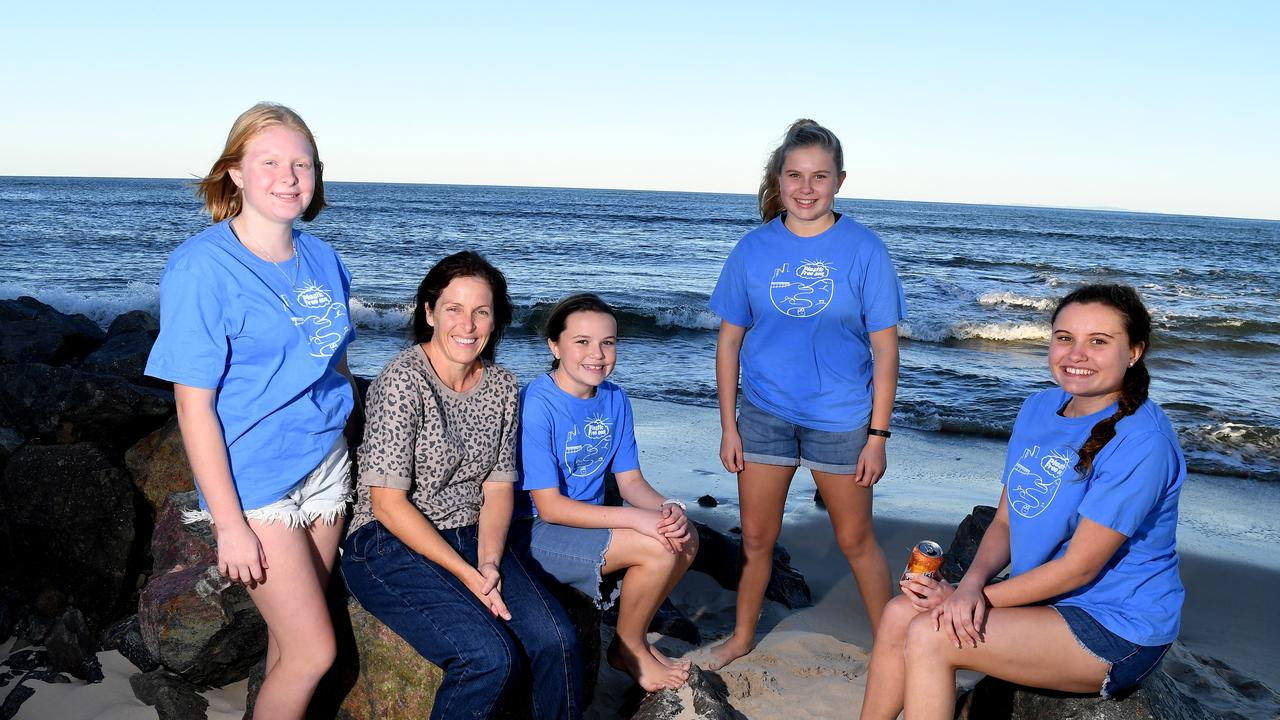CLEAN-UP FEST: Debbies daughter Poppy, 15, and her friend are setting up a Seaside Scavenge for Caloundra. Pictured are (from left) Poppy Ives,15 Debbie Ives, Ruby Simmons,11, Chelsea Simmons,14, and Jazmin Simmons,16, ready for the project.