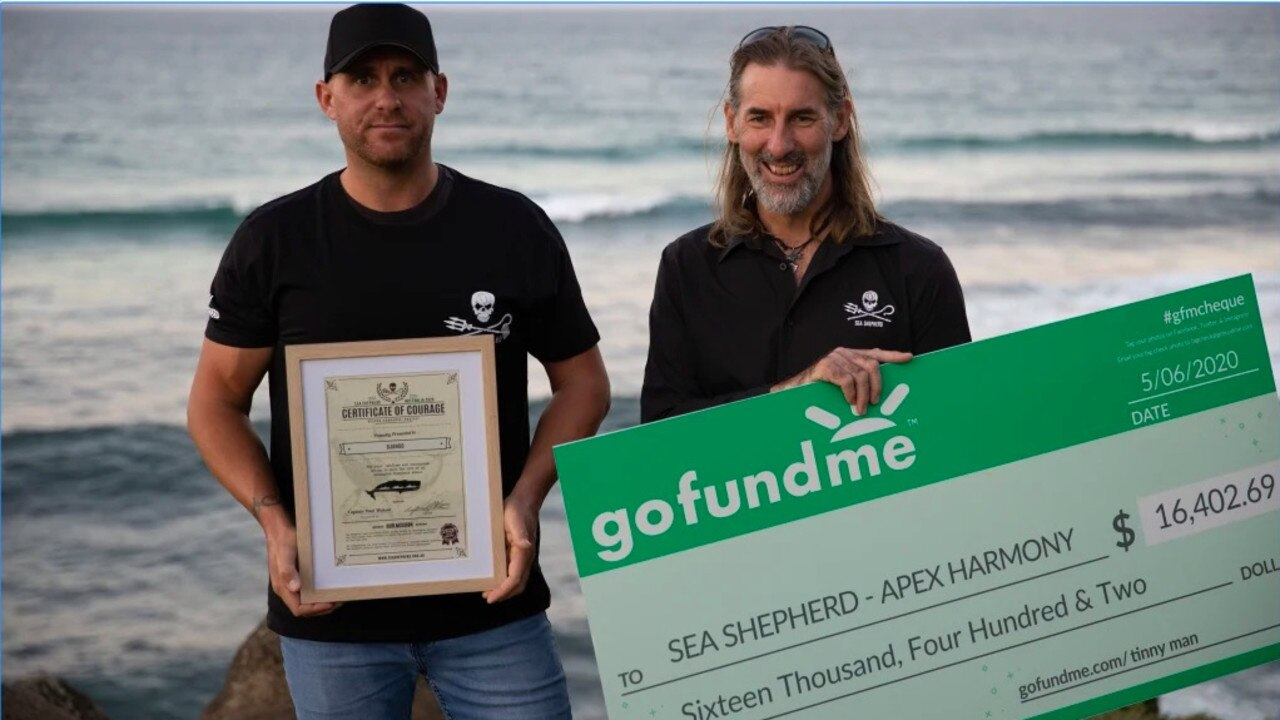 Django Hopkins (left) donated the GoFundMe money to Sea Shepherd yesterday.