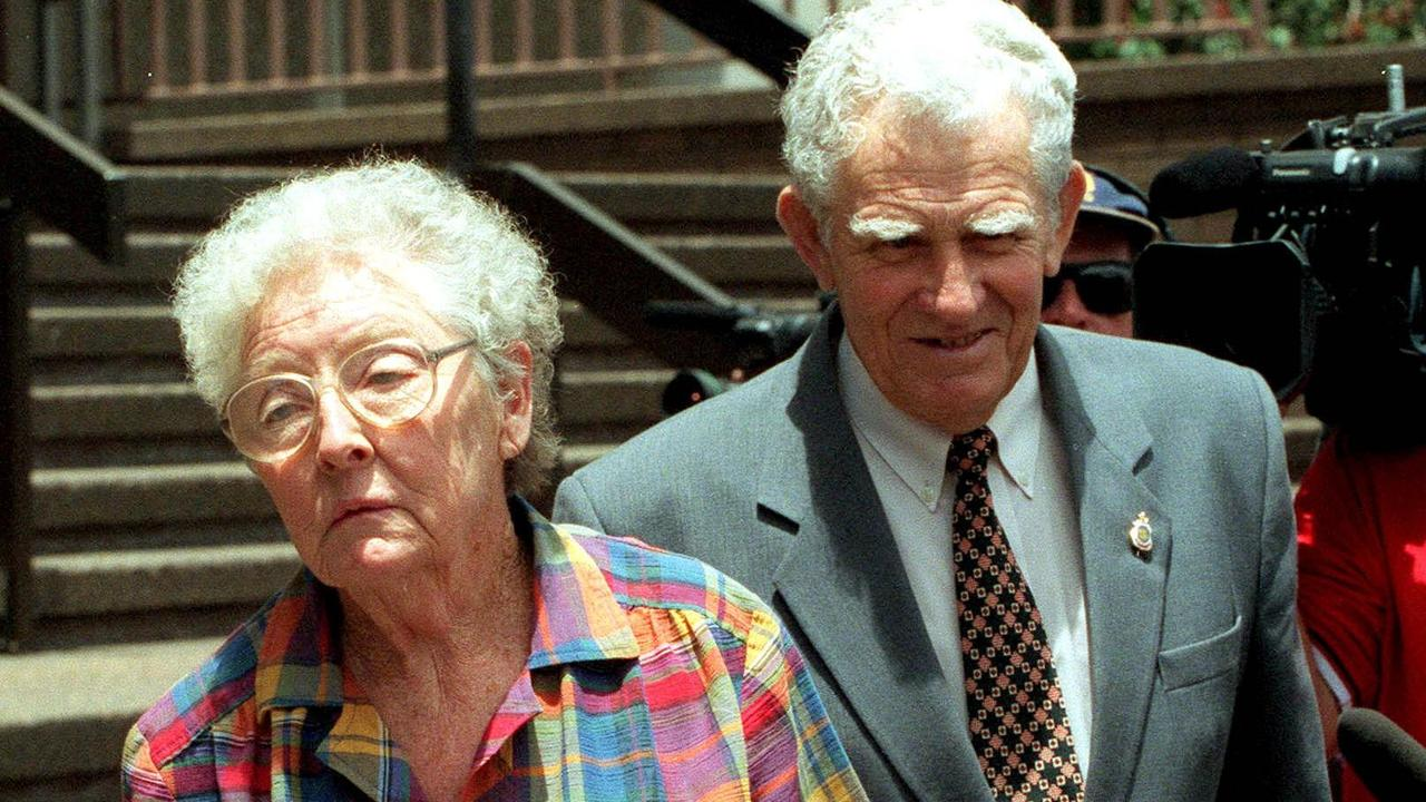 Norma and Syd Long leave Brisbane Coroner's Court in 2001
