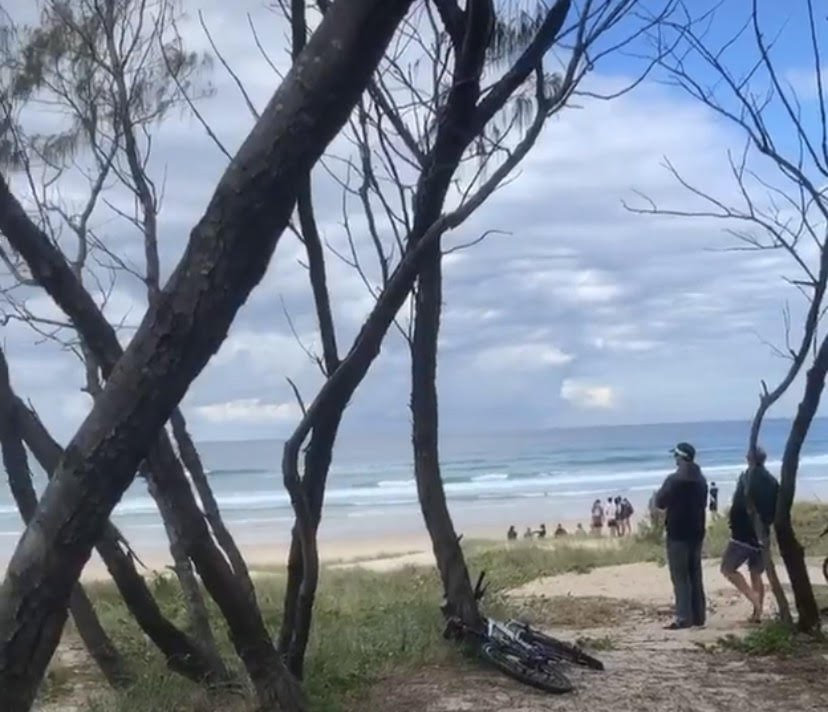 The scene of a fatal shark attack at Kingscliff today.