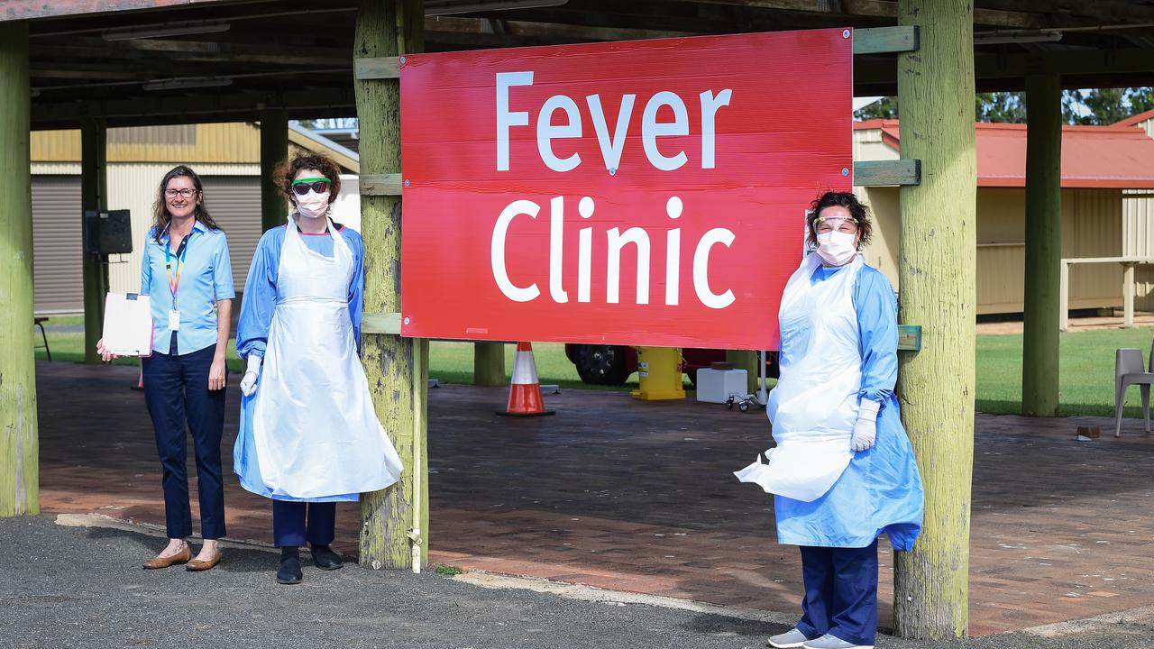 Admin officer Michelle Mills with nurses Nicole Knowles and Rabecca Goddard at the Fever Clinic on Kendalls Rd.