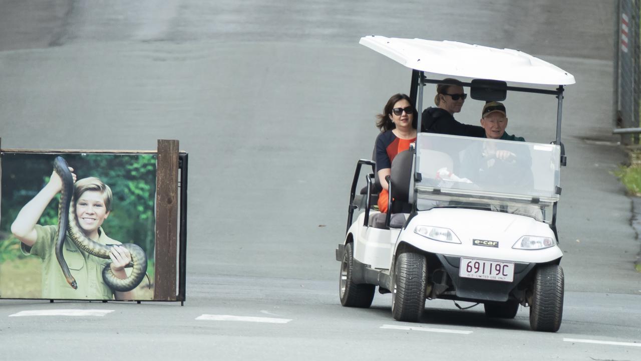 Queensland Premier Annastacia Palaszczuk gets a tour in a golf cart at Australia Zoo this morning.