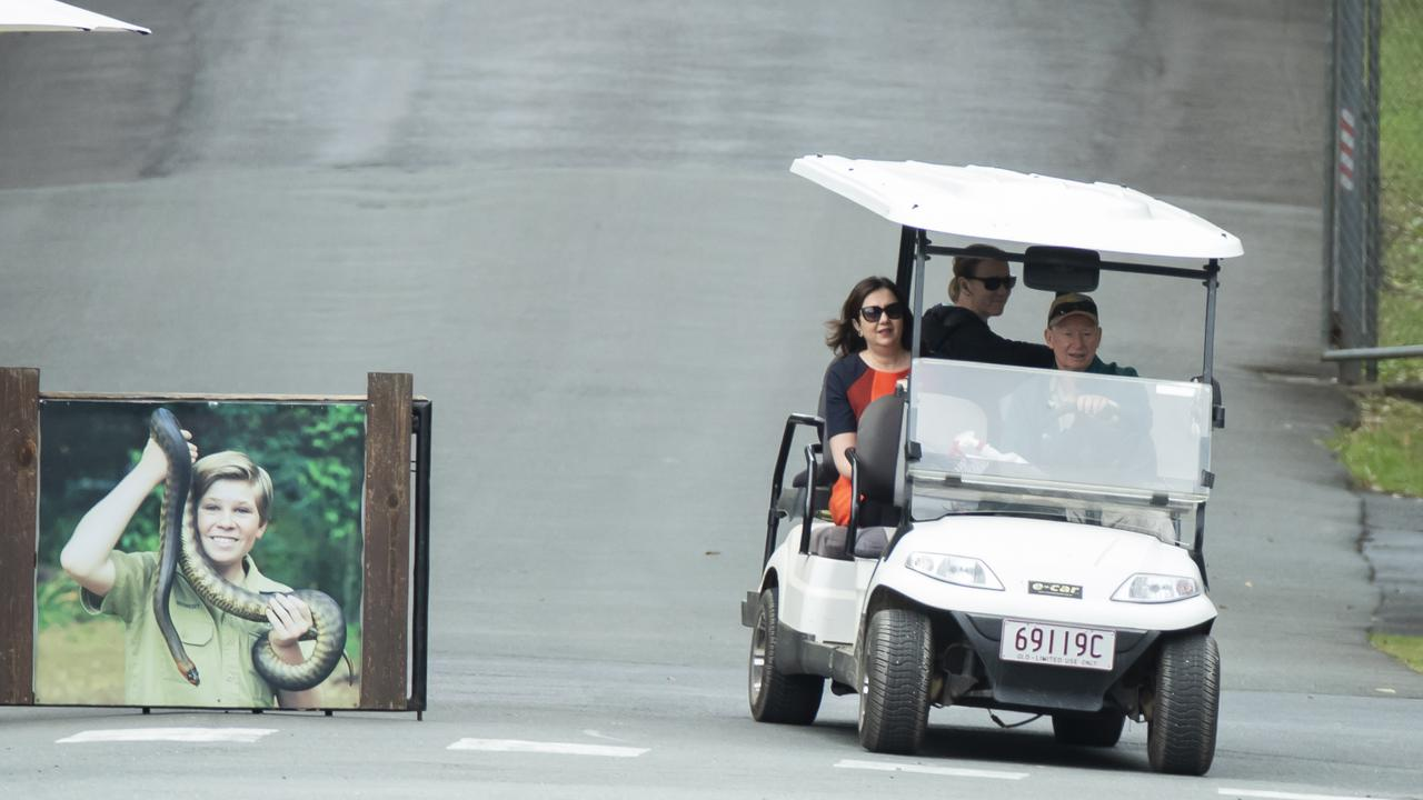 Queensland Premier Annastacia Palaszczuk gets a tour in a golf cart at Australia Zoo today.