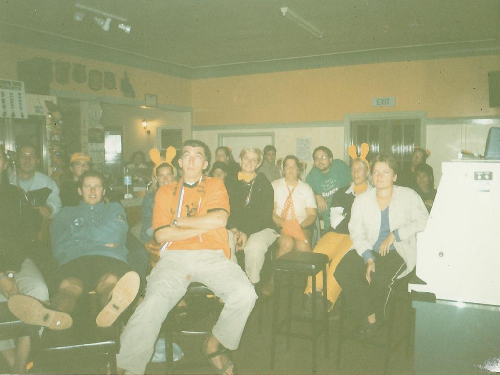 The pub across the street watching European championship football in Holland, Rob Jansen in the front row and just to the right is fire victims Joly Van Der Velden and Gary Sutton