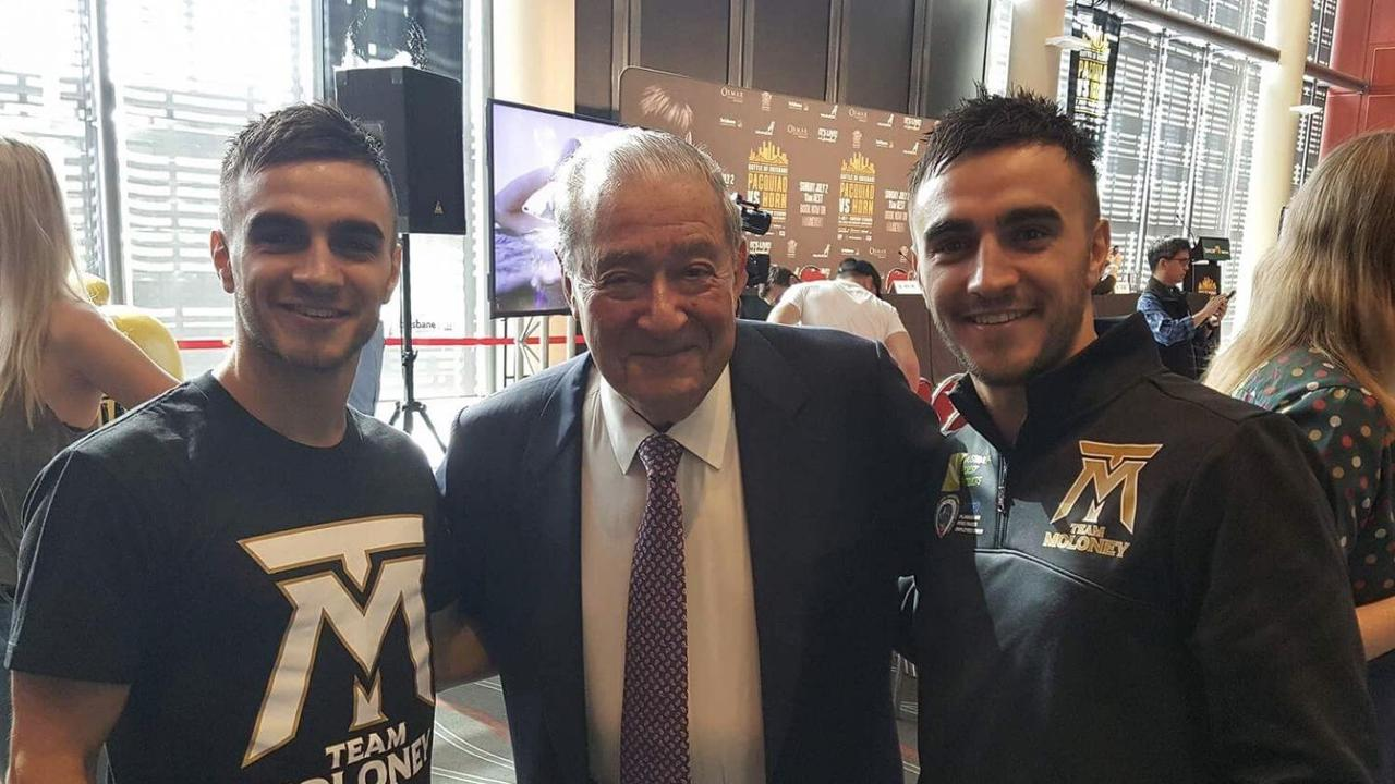 Bob Arum with Australia boxing stars Jason and Andrew Moloney with promoter Bob Arum. Picture: Instagram