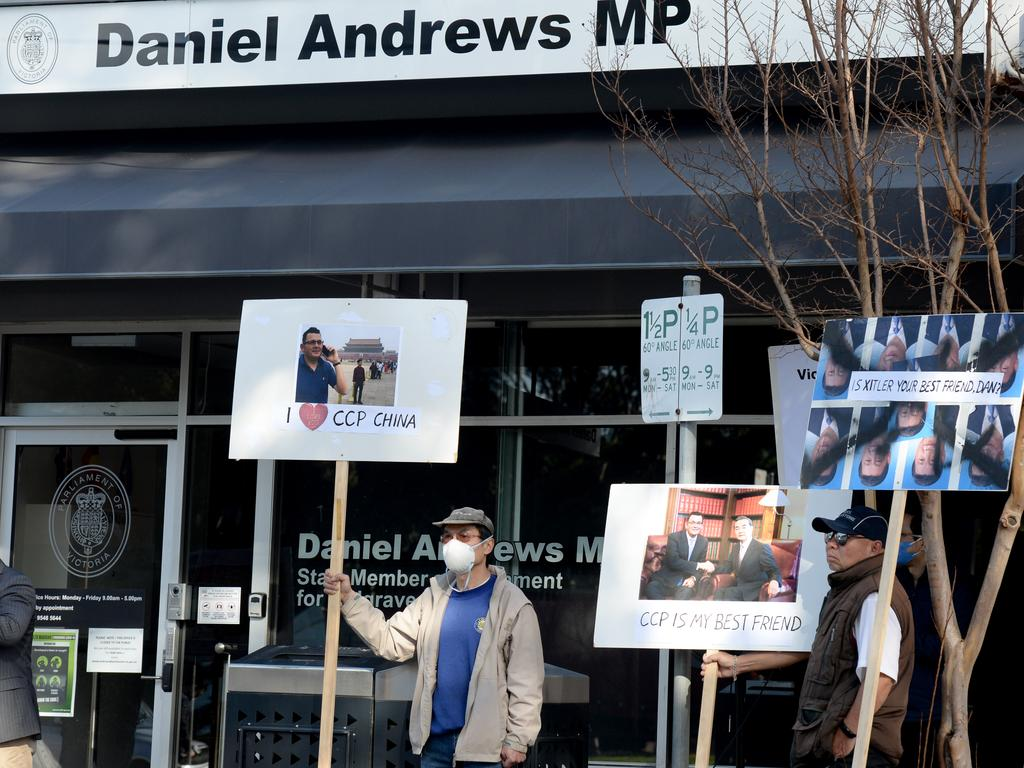 Protesters gather outside Daniel Andrews' electorate office to voice their concerns about Victoria's increased financial links with China. Picture: Andrew Henshaw