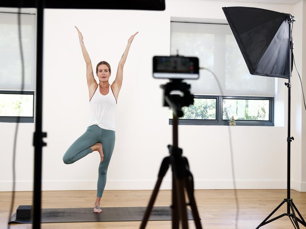 Instructor Noelle Connolly quickly adapted to taking virtual yoga classes from the BodyMindLife studio in Bondi. Picture: Sam Ruttyn