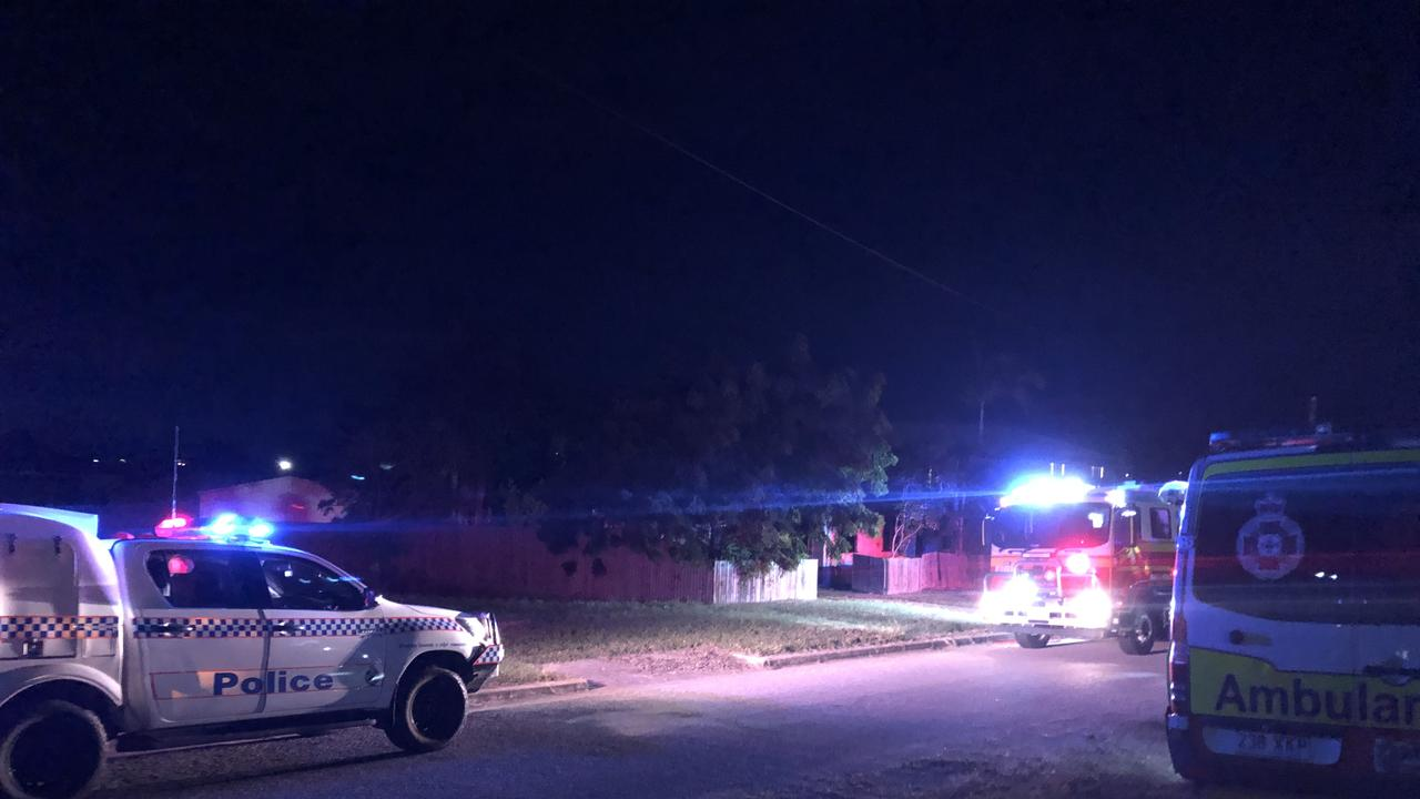 Emergency crews on the scene of a house fire in Bowen late last night (June 6) Picture: Jordan Gilliland