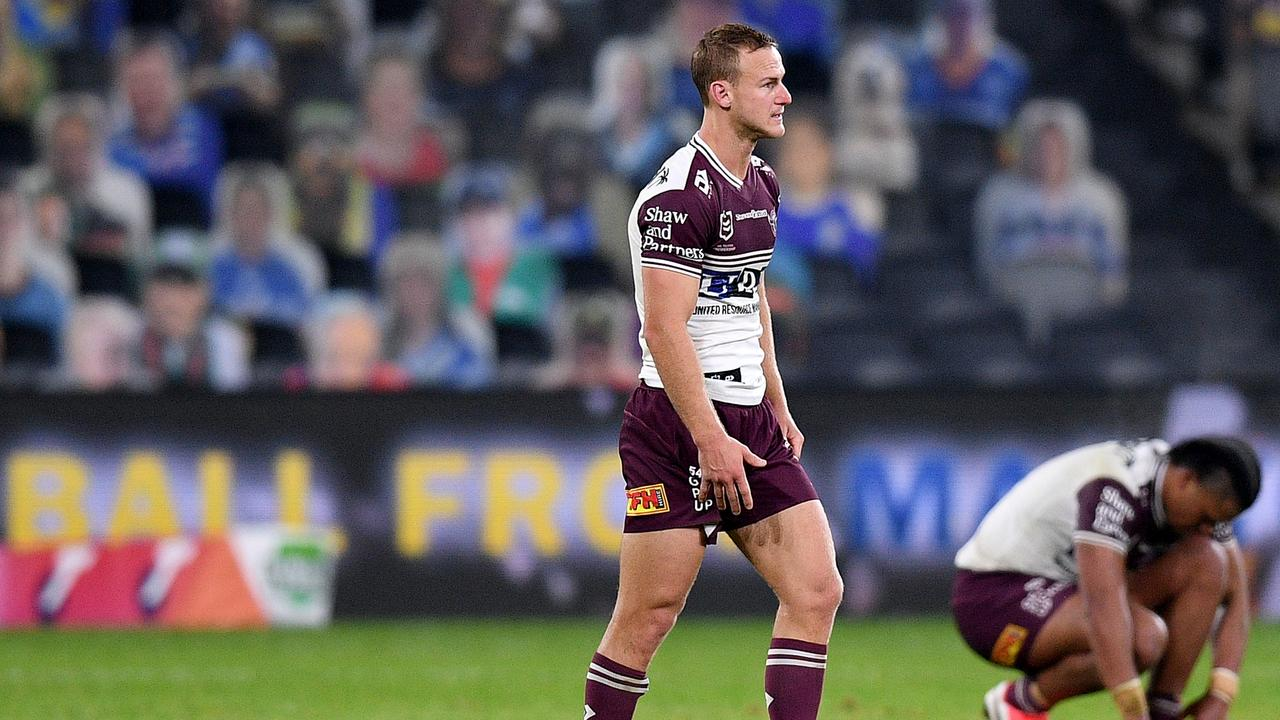Daly Cherry-Evans reacts to Manly's tough defeat. Picture: AAP