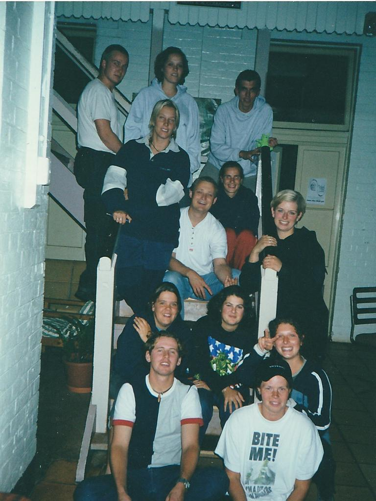 Group of Dutch nationals. On the left top is Sebastian Westerveld, top right Rob Jansen, second row from the ground floor on the left is fire victim Joly Van Der Velden.