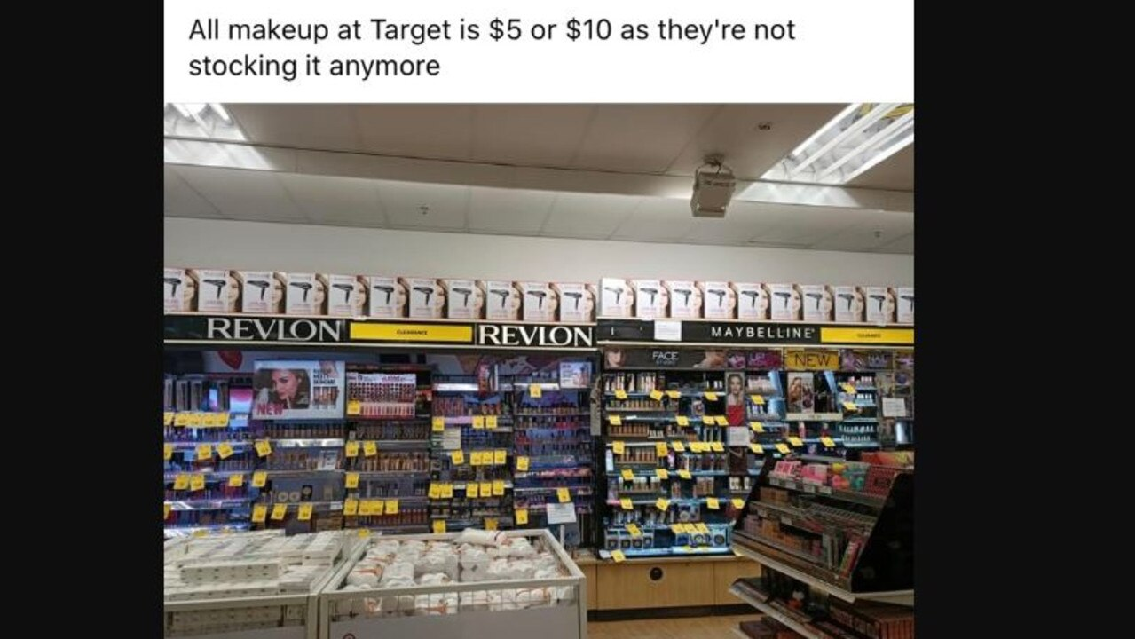 It appears Target is getting rid of make up in stores. Picture: Facebook
