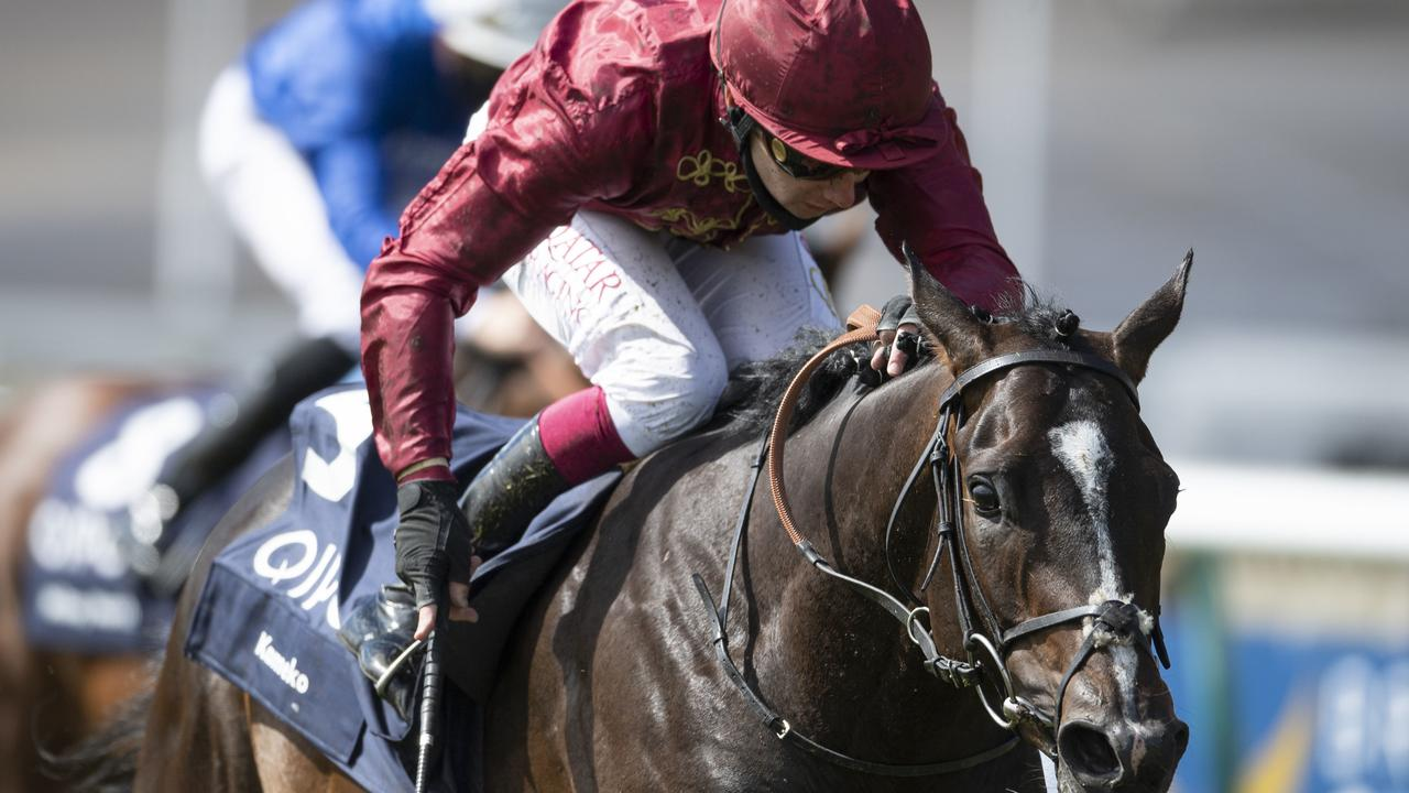 Kameko wins the Group 1 English 2000 Guineas at Newmarket.