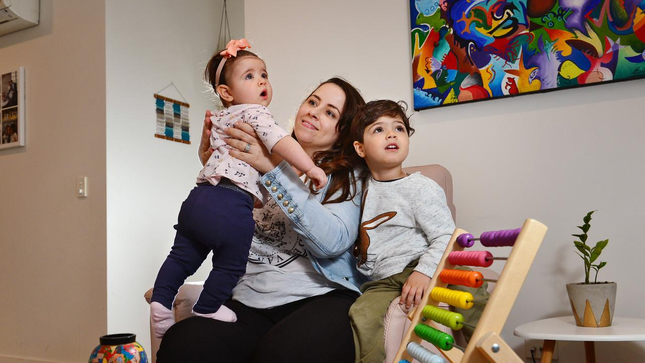 Mother-of-two Emilia Rossi said having free childcare has been a help for her household's bottom line. Picture: Nicki Connolly.