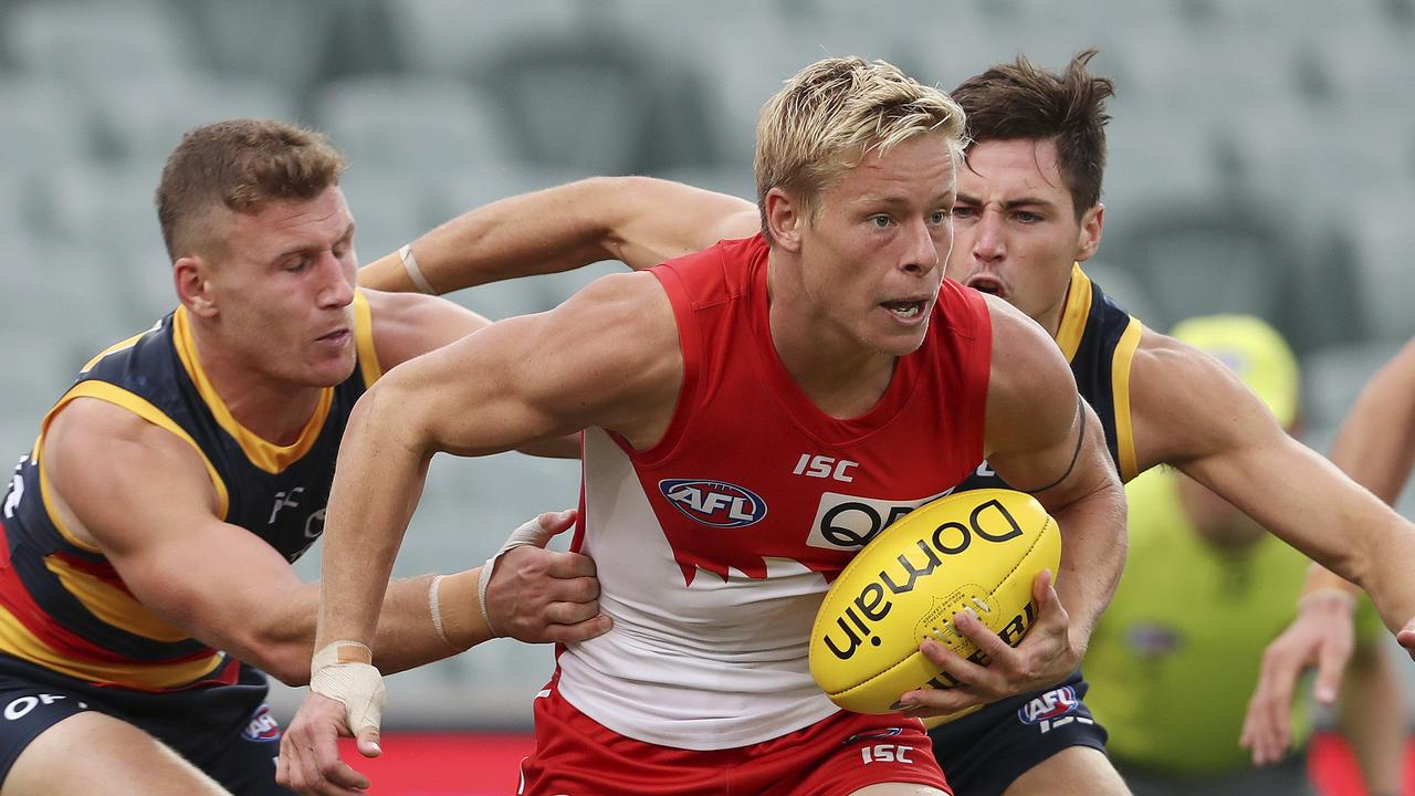 Isaac Heeney gave Adelaide's defence a torrid time in Round 1, booting four goals.