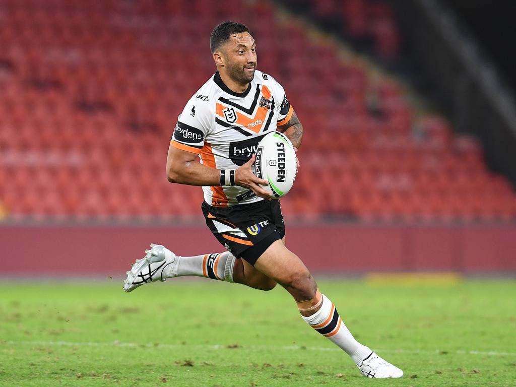 Benji Marshall almost sealed the game for the Tigers with a late field goal. Picture: AAP Image/Dan Peled
