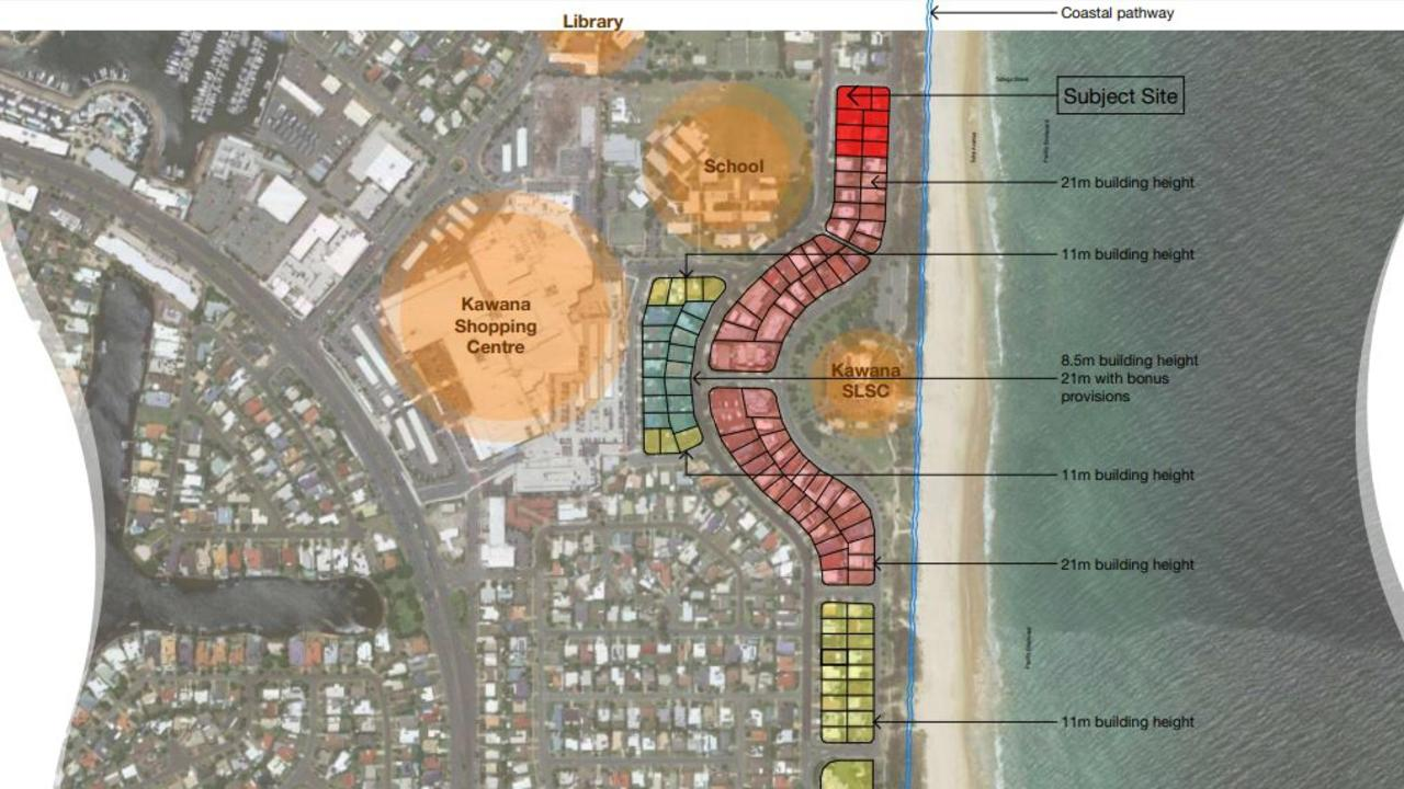 FILE: Concept plans for the Buddina Beach development, which will be the subject of a Planning and Environment Court hearing in August this year.