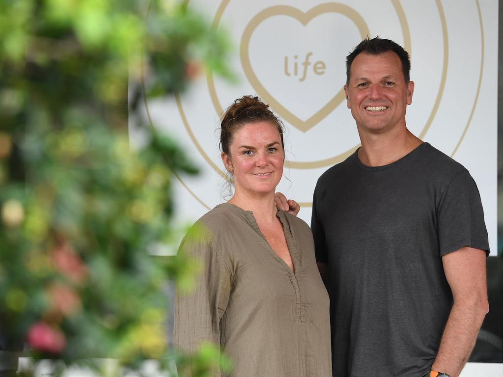 Phil Goodwin with architect Ferique Beach-Brown at BodyMindLife yoga and pilates in Byron Bay before coronavirus restrictions halted the project. Picture: News Regional Media