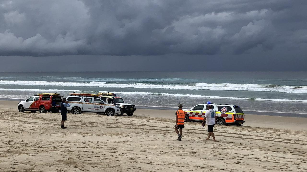 Emergency services at the beach this morning. Picture: Carly Madsen