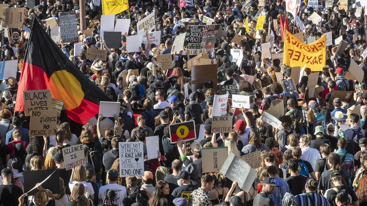 Thousands of people protest in King George Square on June 06, 2020 in Brisbane, Australia.