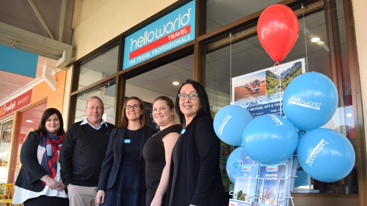 HELLO, QUEENSLAND: Megan Clelland, Paul McVeigh, Katanya Sander, Claire Hiesler and Sharon Lucht of Dalby Helloworld Travel.
