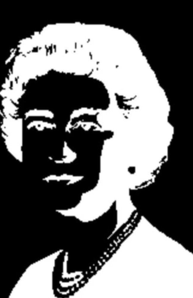 A similar illusion occurs when you stare at this black and white image of the Queen. Picture: Optics4kids