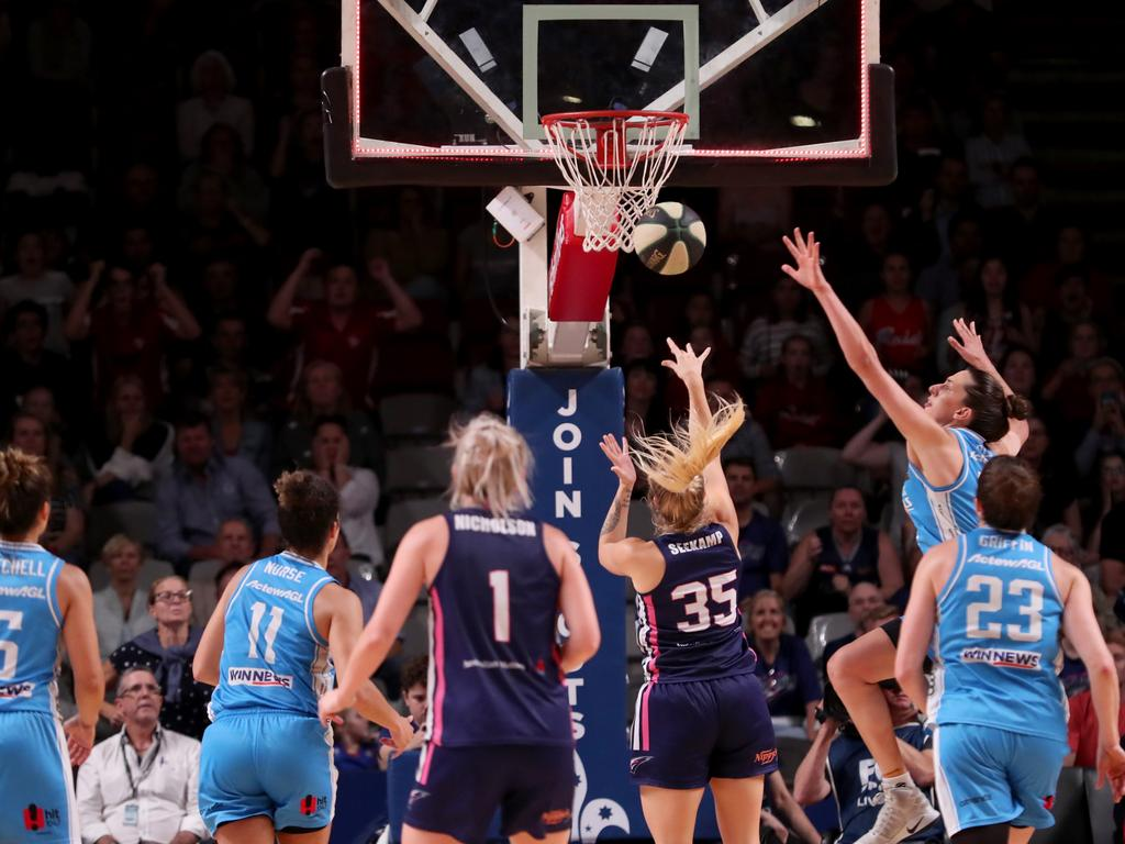 Seekamp shoots the ball on the buzzer to send the 2019 WNBL grand final series into a third game in a thriller against the UC Capitals on February 13, 2019. Picture: AAP/Kelly Barnes