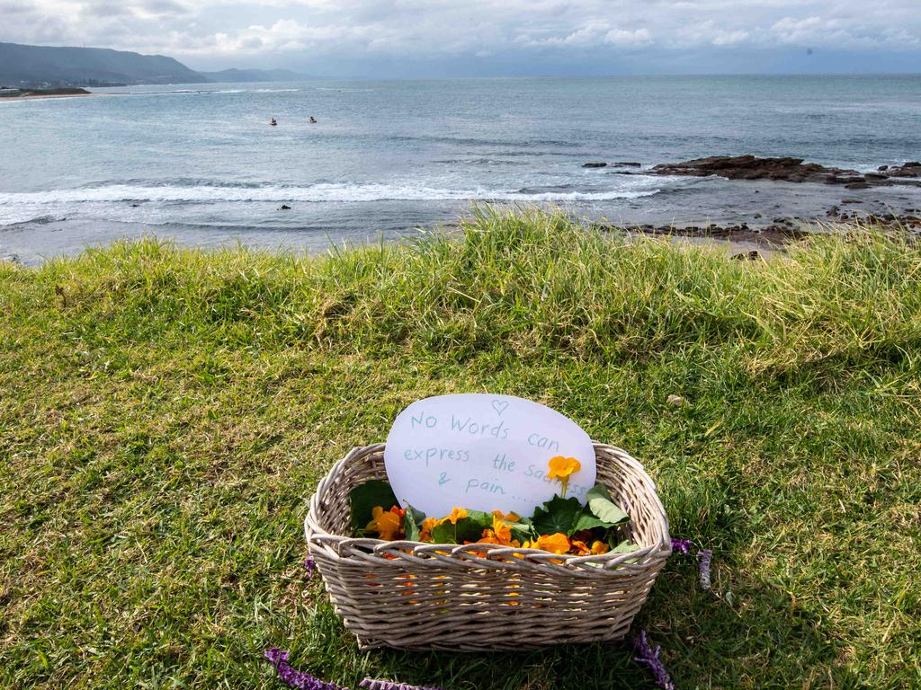 A tribute to the lives lost was left at Waniora Point on Sunday. Picture: Monique Harmer