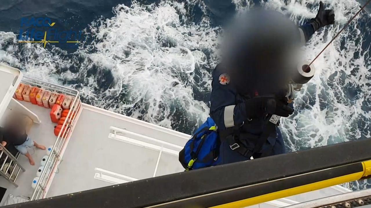 RACQ LifeFlight and Queensland Ambulance Service coming to the aid of a spearfisherman who stabbed himself in the leg.