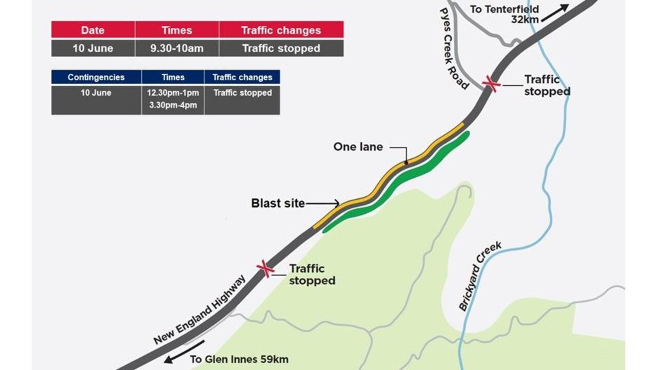 Motorists are advised of changed traffic conditions on the New England Highway at Bolivia Hill.