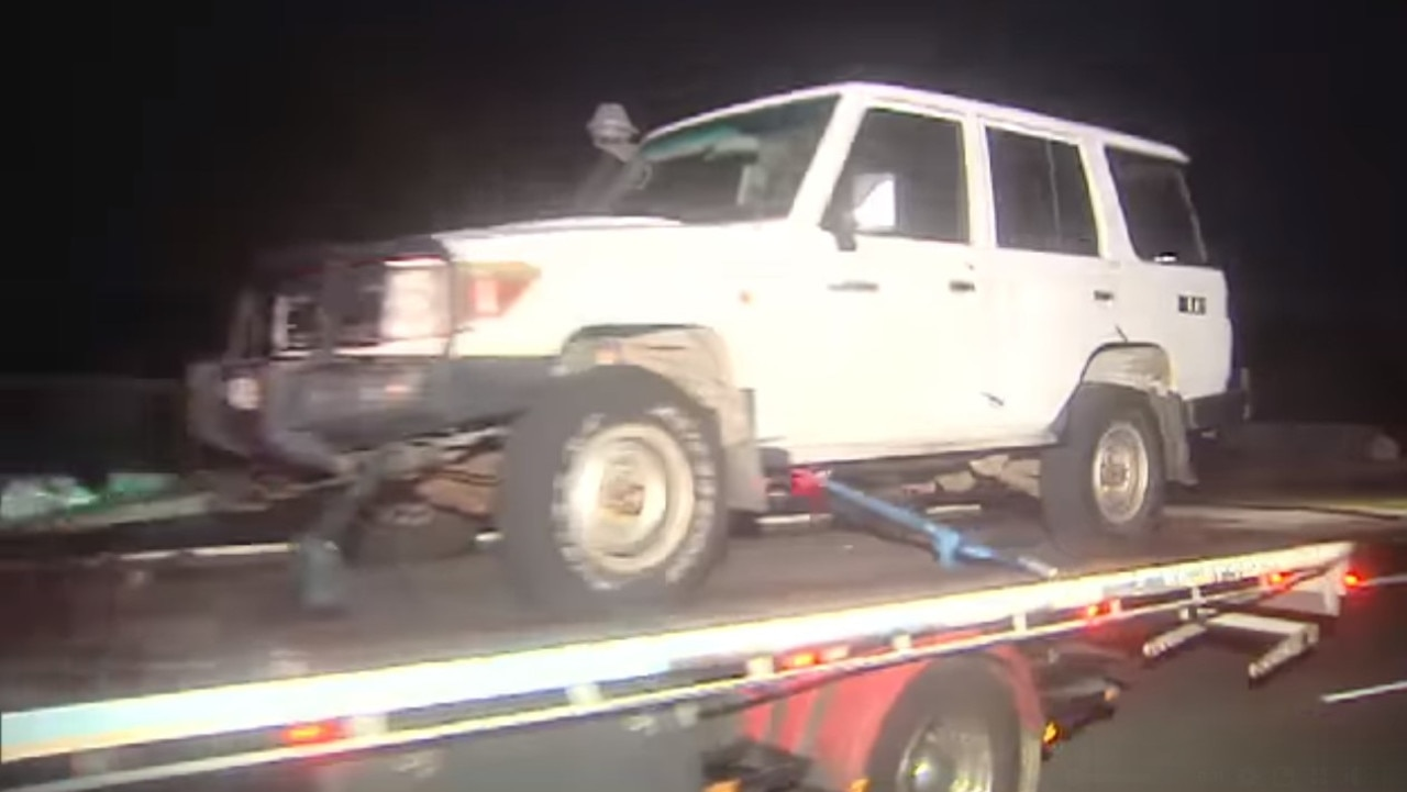 A four-wheel drive is driven away from the scene of a fatal incident involving a toddler on a driveway in Perth's east. Picture: Channel 9.