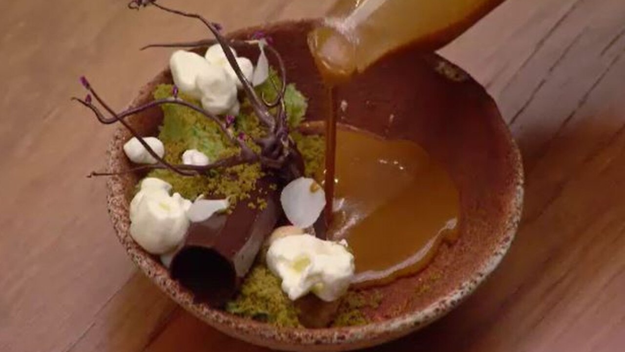 The judges gushed over Reynold's 'Down the Rabbit Hole' dessert. Picture: Channel 10.